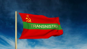 Transnistria flag slider style with title. Waving stock video