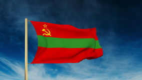 Transnistria flag slider style. Waving in the win. Transnistria flag slider style. Waving with cloud background animation stock video footage