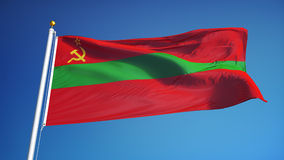 Transnistria flag in slow motion seamlessly looped with alpha. Transnistria flag waving in slow motion against blue sky, seamlessly looped, close up, isolated on stock video footage