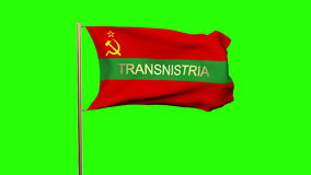 Transnistria flag with title waving in the wind. Loops sun rises style stock video