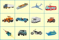 Transoprt protestuje wektor ikon ustalonych automobils, pociąg, ciężarówka, samolot royalty ilustracja