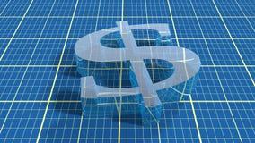 Transparant 3d dollarpictogram op blauwdruk Royalty-vrije Stock Fotografie