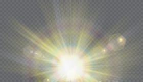 Transparant de flits lichteffect van de zonlicht speciaal lens de voorflits van de zonlens Royalty-vrije Stock Afbeeldingen
