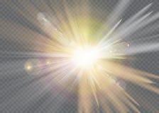 Transparant de flits lichteffect van de zonlicht speciaal lens de voorflits van de zonlens Stock Foto's