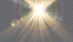 Transparant de flits lichteffect van de zonlicht speciaal lens de voorflits van de zonlens Stock Afbeeldingen