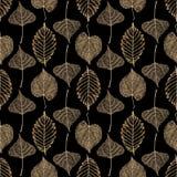 Transparant gouden de herfst naadloos patroon van skeletbladeren vector illustratie