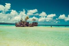Transparant ondiep water Reis naar Filippijnen De vakantie van de de zomerluxe Het eiland van het Boracayparadijs Wit Strand Seav stock foto