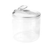 Transparant Plastic Verzegeld Containeraluminium dat op wit wordt geïsoleerd stock afbeelding