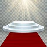 Transparant realistisch effect Rood tapijt en rond podium met lichten voor gebeurtenis of toekenningsceremonie Eps 10 vector illustratie