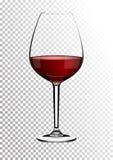 Transparant realistisch vectorwijnglashoogtepunt van kleur van rode wijn de rijke donkere robijnrode Bourgondië Illustratie in ph royalty-vrije illustratie