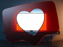 Transparant Rood hart zoals symbool met Televisie op achtergrond het 3d teruggeven royalty-vrije stock foto