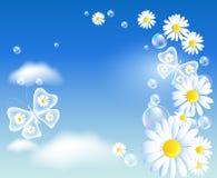 Vlinders en madeliefje in de hemel vector illustratie