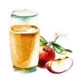 Transparante appelen die in glas vallen De illustratie van de waterverf Stock Fotografie