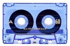 Transparante blauwe audio geïsoleerdee cassette Royalty-vrije Stock Afbeeldingen