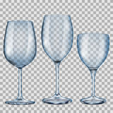 Transparante blauwe lege glasdrinkbekers voor wijn Stock Foto