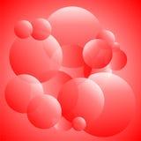 Transparante cirkels in rood en wit Stock Afbeeldingen