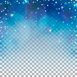 Transparante de winterachtergrond Blauw licht en sneeuwvlokken Stock Afbeeldingen