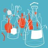 Transparante flessen en kruiken Royalty-vrije Stock Afbeelding