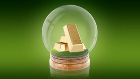 Transparante gebiedbal met gouden binnen bars het 3d teruggeven Stock Foto's