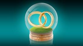Transparante gebiedbal met huwelijks binnen ringen het 3d teruggeven het 3d teruggeven Stock Afbeeldingen