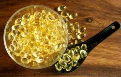 Transparante gele tabletten Royalty-vrije Stock Foto