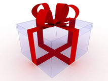 Transparante gift en rood lint Royalty-vrije Stock Foto