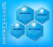 Transparante glanzende blauwe kaders en reeks van eenvoudig m Stock Afbeelding
