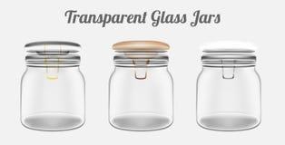 Transparante Glaskruiken stock illustratie
