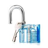Transparante hangslot en sleutels Stock Foto's