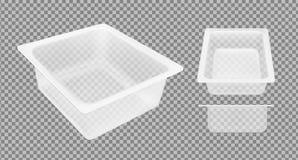 Transparante lege plastic container voor kaas Verpakkend voor vlees, vissen en groenten vector illustratie