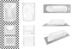 Transparante lege plastic verpakking met GLB en pakket met klep voor snacks, voedsel, spaanders, kaas en kruiden vector illustratie