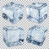 Transparante lichtblauwe ijsblokjes Stock Afbeelding
