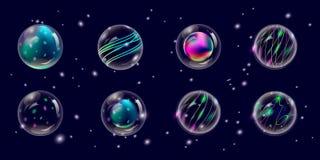 Transparante Nieuwjaar en Kerstmisballen, vektor stock illustratie
