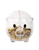 Transparante piggy van het spaarvarken Royalty-vrije Stock Afbeeldingen