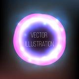 Transparante purper, zwart, neon, ronde banner Abstract het gloeien vectorwerkingsgebied Helder lichteffect Het kader van het mal Stock Foto's