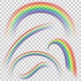 Transparante realistische kleurrijke regenboogreeks Regenbooginzameling op transparante achtergrond Royalty-vrije Stock Fotografie