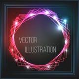 Transparante rode, blauwe, zwarte banner Abstract het gloeien vectorwerkingsgebied Helder lichteffect Neonkader met sterren ruimt Royalty-vrije Stock Foto