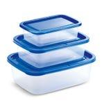 Transparante Tupperware met Blauwe Dekking royalty-vrije stock afbeeldingen