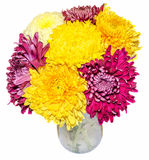 Transparante vaas met chrysant en dhalia purpere en gele bloemen, geïsoleerde, witte achtergrond royalty-vrije illustratie