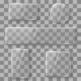 Transparante vectorglasplatenbanners op plaidachtergrond Stock Foto's