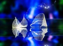 Transparante witte bladeren royalty-vrije illustratie