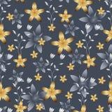 Transparante Witte en Heldere Gouden Bloemen op Gray Background royalty-vrije illustratie
