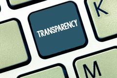 Transparencia de texto de la escritura Condición del significado del concepto que es translúcido evidente obvio claro transparent ilustración del vector