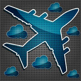 Transparency Airliner In The Air With Clouds Royalty Free Stock Photography