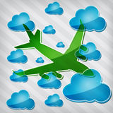Transparency airplane in air with blue cloud Royalty Free Stock Image