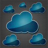 Transparency blue cloud computing icons. On the metallic background Royalty Free Stock Photo