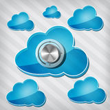Transparency blue clouds with chrome volume knob Stock Photos