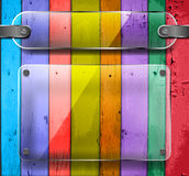 Transparency plates on Colorful Wooden Planks Stock Photo