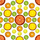 Transparency sliced colorful fruits on white background. Rings of grapefruit, lemon, tangerine and orange. Seamless pattern Royalty Free Stock Images