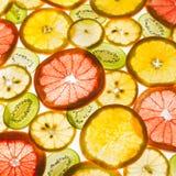 Transparency sliced fruits on white background. Rings of grapefruit, kiwi, lemon and orange Stock Images